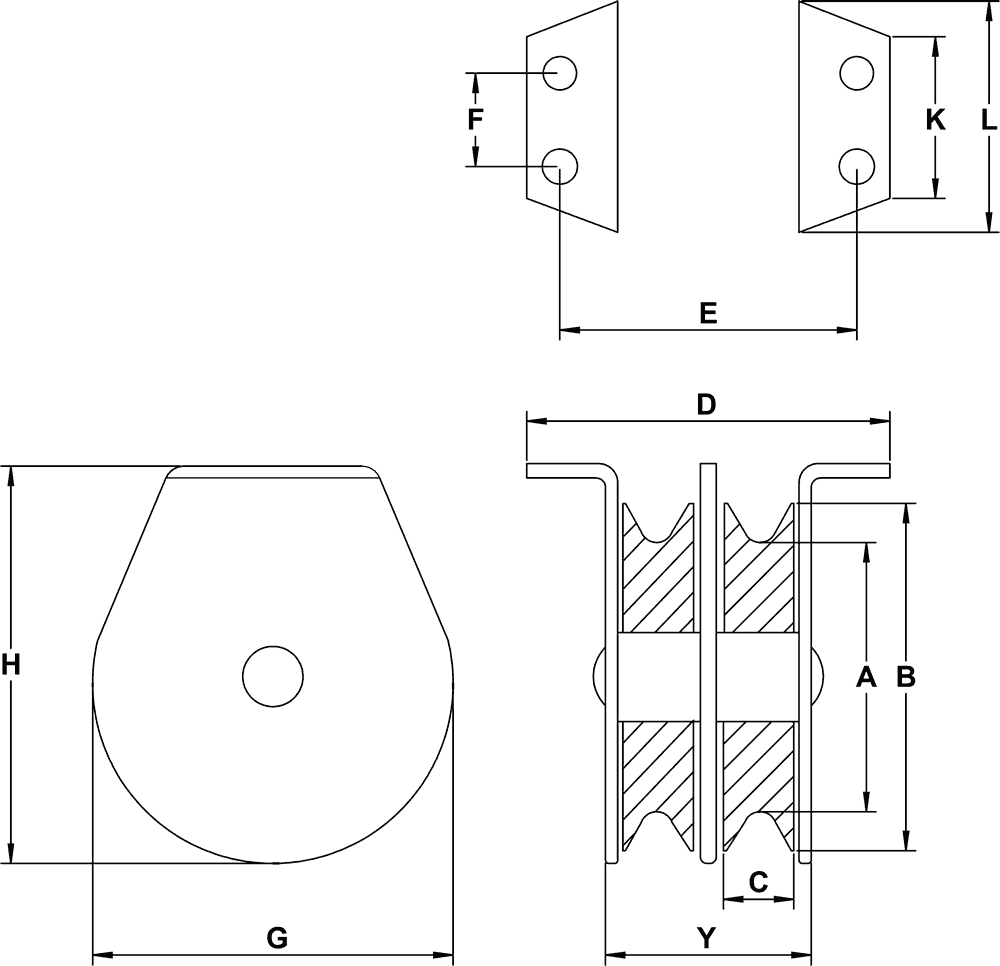 double sink diagram double sheave flat mount blocks for cable